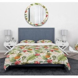 Designart 'Vintage Pineapple with Tropical Flowers' Floral Bedding Set - Duvet Cover & Shams (Full/Queen Cover +2 Shams (comforter not included)), found on Bargain Bro India from Overstock for $112.62