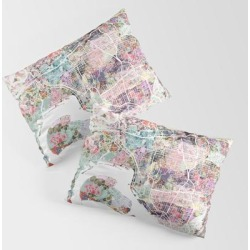 King Size Pillow Sham | San Diego Map Flowers by Mapsland - STANDARD SET OF 2 - Cotton - Society6 found on Bargain Bro from Society6 for USD $30.39