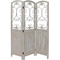 48 inch 3 Panel Screen with Metal Scrollwork, Washed Beige (Black)