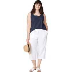 Plus Size Women's Linen Blend Drawstring Capris by ellos in White (Size 10) found on Bargain Bro Philippines from Ellos for $30.90