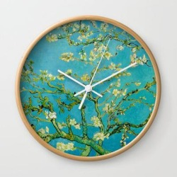 Wall Clock   Almond Blossoms Painting By Vincent Van Gogh Oil Painting by Vincent Van Gogh - Natural - White - Society6 found on Bargain Bro from Society6 for USD $17.02