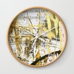 Wall Clock | Armor [11]: A Bold, Elegant Abstract Mixed Media Piece In Gold Pink Black And White by Alyssa Hamilton Art - Natural - White - Society6