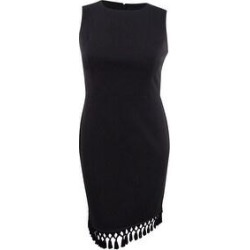 Calvin Klein Women's Tassel-Hem Sheath Dress - Black (14)(polyester) found on Bargain Bro from Overstock for USD $49.39