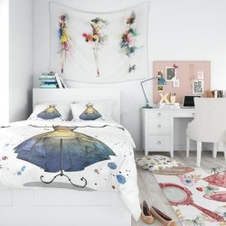 Designart 'Mannequin with Long Dress' Abstract Bedding Set - Duvet Cover & Shams (Twin Cover + 1 sham (comforter not included)), Yellow, DESIGN ART found on Bargain Bro India from Overstock for $102.79