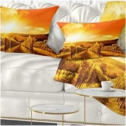 Designart 'Scenic Sunset Road in Italy' Landscape Printed Throw Pillow (Rectangle - 12 in. x 20 in. - Medium), Orange, DESIGN ART(Polyester, Nature) found on Bargain Bro from Overstock for USD $27.35