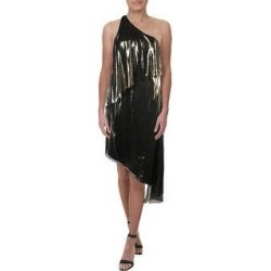 Halston Heritage Women's Asymmetrical Metallic One Shoulder Popover Dress - Gold (8)(polyester) found on MODAPINS from Overstock for USD $20.43