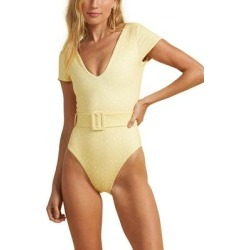 X The Salty Blonde Sundipped Cap Sleeve One-piece Swimsuit - Yellow - Billabong Beachwear found on Bargain Bro India from lyst.com for $130.00