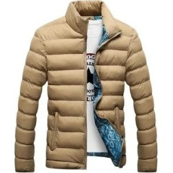 Man Down Coat Slim Warm Cotton Coat Khaki M (M), Men's, Green found on MODAPINS from Overstock for USD $48.11