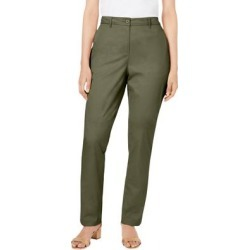 Plus Size Women's Straight Leg Chino Pant by Jessica London in Dark Olive Green (Size 16 W) found on Bargain Bro Philippines from Ellos for $44.99