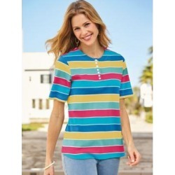 Women's Striped Knit Top, Sunshine Stripe L Misses found on Bargain Bro India from Blair.com for $24.99