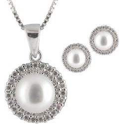 8-8.5mm Grey Freshwater Pearl & Cz Double Halo Pendant Necklace & Stud Earrings Set - White - Splendid Necklaces found on Bargain Bro from lyst.com for USD $60.80