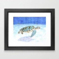 Framed Art Print | Sea Turtle Underwater by Savousepate - Vector Black - X-Small-10x12 - Society6