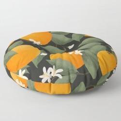 Floor Pillow | Fresh Citrus // Dark by Laura Graves - ROUND - 30