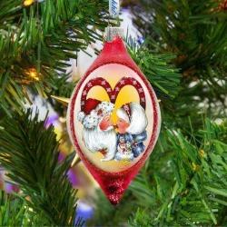 G Debrekht Merry Kissmass Glass Ornament Holiday Splendor By Jamie Mills Price, Size 4.0 H x 3.5 W x 1.5...