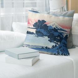 Porch & Den Katsushika Hokusai 'Shichiri Beach in Sagami Province Throw Pillow (18 x 18 - Purple & Orange - Cotton) found on Bargain Bro from Overstock for USD $55.85