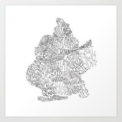Brooklyn - Hand Lettered Map Art Print by Type By Hand - X-Small