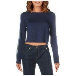 Splendid Women's Striped Open Back Long Sleeve Activewear Crop Top (Peacoat - M)(knit) found on Bargain Bro from Overstock for USD $12.57