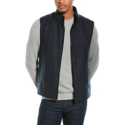 Corneliani Leather-Trimmed Wool Puffer Vest (52), Men's, Blue found on MODAPINS from Overstock for USD $384.99