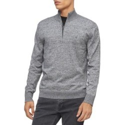 Calvin Klein Mens Sweater Gray Size Small S 1/2 Zip Rib Trim Pullover (S), Men's(cotton) found on Bargain Bro Philippines from Overstock for $32.49