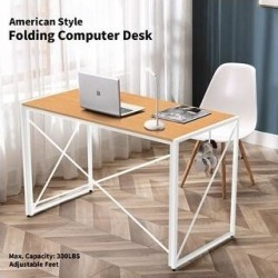NOVA FURNITURE Folding Home Office Computer Desk, Writing Desk for Urban Apartment and Dormitory, (Oak Finish/Wood Finish/Steel Finish - Yellow), Gold found on Bargain Bro Philippines from Overstock for $97.59