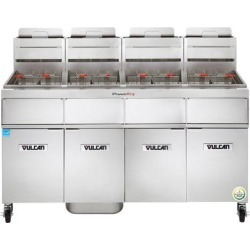 Vulcan 4TR45AF-1 PowerFry3 Natural Gas 180-200 lb. 4 Unit Floor Fryer System with Solid State Analog Controls and KleenScreen Filtration - 280,000 BTU