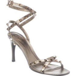 Valentino Rockstud 85 Leather Sandal (37), Women's, Gold found on Bargain Bro Philippines from Overstock for $791.99