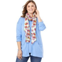 Plus Size Women's Lightweight Scarf by Woman Within in White Multi Hibiscus Tropicana found on Bargain Bro Philippines from fullbeauty for $9.98