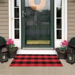 Gracie Oaks Plaid Runner Rug Red And2'X8', Buffalo Check Rug Runner Hallway Entry Carpet in Black, Size 51.2 H x 23.6 W x 0.2 D in | Wayfair found on Bargain Bro Philippines from Wayfair for $106.99