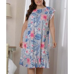C.PLUS Women's Nightgowns blue - Blue & Pink Floral Ruffle-Hem Nightgown - Women & Plus found on Bargain Bro India from zulily.com for $24.99