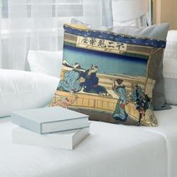 Porch & Den Katsushika Hokusai 'Yoshida at Tokaido' Throw Pillow (16 x 16 - Tan & Blue - Faux Suede), Multicolor found on Bargain Bro from Overstock for USD $47.26