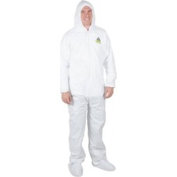 White Disposable Microporous Coveralls with Hood - Medium found on Bargain Bro India from webstaurantstore.com for $4.79