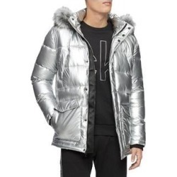Calvin Klein Mens Parka Coat Faux Fur Winter - Silver - XL (Silver - XL), Men's found on MODAPINS from Overstock for USD $117.40