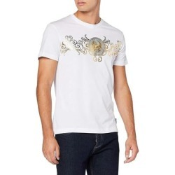 petite Versace Jeans Couture Mens White Gold Logo Short Sleeve (L), Men's, Multicolor found on Bargain Bro from Overstock for USD $32.30