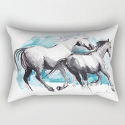 """Horses (mom&kid) Rectangular Pillow by Paper Horses - Small (17"""" x 12"""")"""