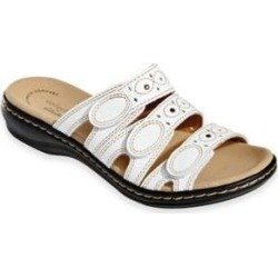 Women's Leisa Cacti Sandals by Clarks, White 6.5 W Wide found on Bargain Bro from Blair.com for USD $60.79
