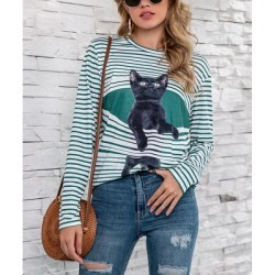 Camisa Women's Pullover Sweaters Green - Green Stripe Sitting Cat Crewneck Tee - Women found on Bargain Bro from zulily.com for USD $15.19