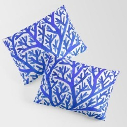King Size Pillow Sham | Fan Coral - Blue Ombre by Cat Coquillette - STANDARD SET OF 2 - Cotton - Society6 found on Bargain Bro from Society6 for USD $30.39