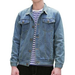 Men Turn Down Collar Chest Flap Pockets Twill Coat Casual Jacket found on MODAPINS from Overstock for USD $45.99