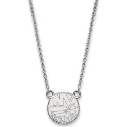 Sterling Silver NHL LogoArt New York Islanders Small Pendant with Necklace by Versil (White - Size: 18 Inch), Women's found on Bargain Bro Philippines from Overstock for $64.49