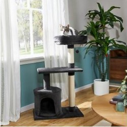 Frisco 38-in Cat Tree with Condo, Top Perch and Toy, Dark Charcoal found on Bargain Bro from Chewy.com for USD $30.39