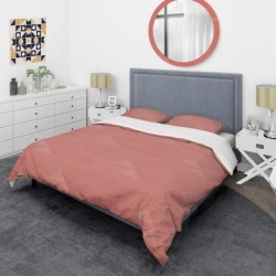 Designart 'Triangual Retro Coral Pattern' Mid-Century Duvet Cover Set (Full/Queen Cover +2 Shams (comforter not included)), Pink, DESIGN ART found on Bargain Bro India from Overstock for $113.47
