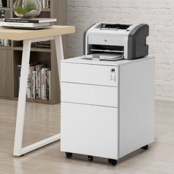 Inbox Zero TREXM Three Drawer File Cabinet Mobile Metal Lockable File Cabinet Under Desk Fully Assembled Except For 5 Castors Metal/Steel in White found on Bargain Bro Philippines from Wayfair for $349.99