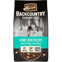 Merrick Backcountry Raw Infused Grain Free Dry Dog Food Game Bird Recipe, 4-lb bag