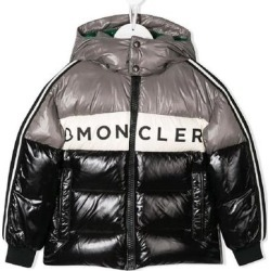Moncler Boys Color Block Logo Down Coat Jacket Black (5), Boy's, Multicolor found on MODAPINS from Overstock for USD $470.25