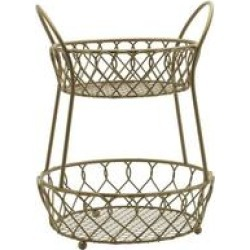 Mikasa Gourmet Basics Gold Loop And Lattice 2 Tier Round Basket (1 Piece), Gourmet Basics by Mikasa(Metal) found on Bargain Bro Philippines from Overstock for $41.79