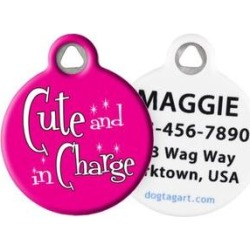 Dog Tag Art Cute & in Charge Personalized Dog & Cat ID Tag, Large