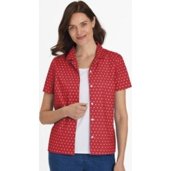 Women's Plus Short-Sleeve Parfait Camp Shirt, Classic Red Dot 2XL found on Bargain Bro from Blair.com for USD $15.95