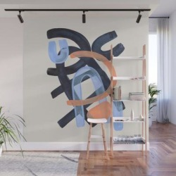 Wall Mural | Midcentury Modern Minimalist Funky Cool Tribal Pattern Paynes Grey Pastel Blue Tan Shapes By Ejaaz Haniff by Enshape - 8' X 8' - Society6 found on Bargain Bro Philippines from Society6 for $239.99