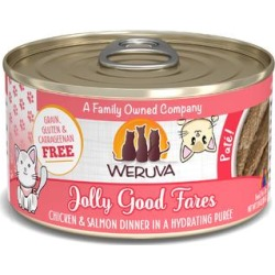 Weruva Pate Jolly Good Fares Chicken & Salmon Dinner in a Hydrating Puree Wet Cat Food, 3 oz., Case of 12, 12 X 3 OZ