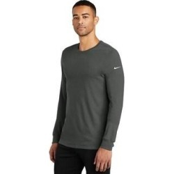 Nike Men's DRI-FIT Cotton/Poly Long Sleeve T Shirt (Charcoal - XS), Black found on Bargain Bro from Overstock for USD $33.81